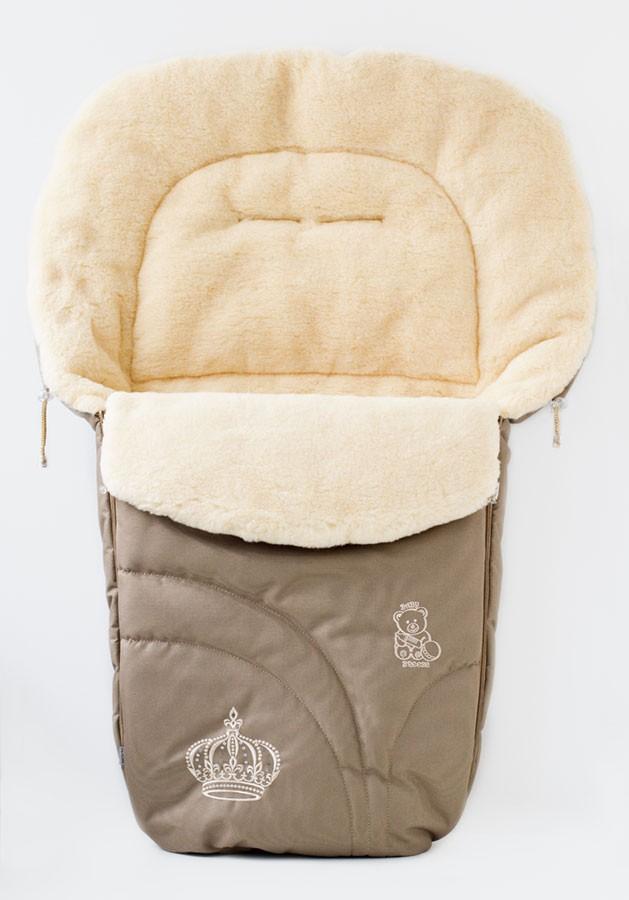 Конверт в коляску з овечої вовнни Капучіно