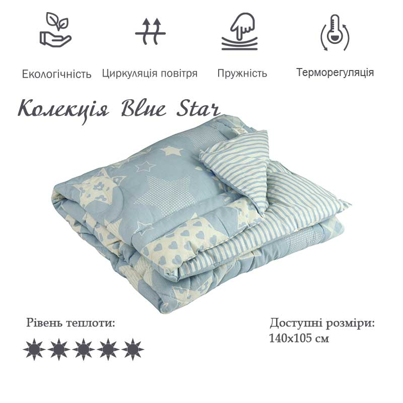 Дитяча вовняна ковдра Blue Star 105х140 см
